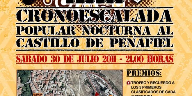 Cartel de la cronoescalada nocturla al castillo de Peñafiel 2011