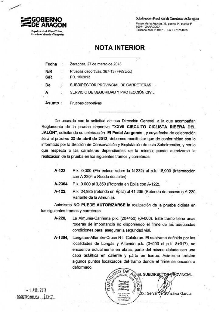 Informe de no autorización de La Ribera del Jalón