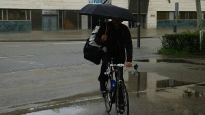 Bike riding in the rain