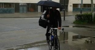 Bike riding in the rain